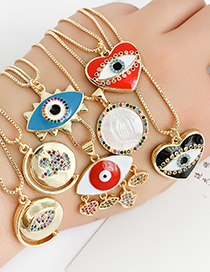 Fashion Gold Copper Inlaid Zircon Round Eye Necklace