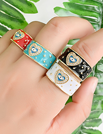 Fashion Royal Blue Copper Inlay Zircon Love Eye Ring