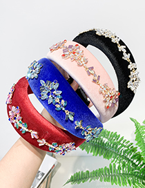 Fashion Black Fabric Rhinestone Geometric Headband