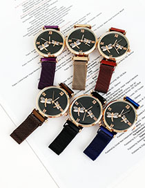 Fashion Red Wine Alloy Small Gentleman Watch