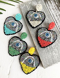 Fashion Green Non-woven Rice Beads Stitching Love Eye Earrings