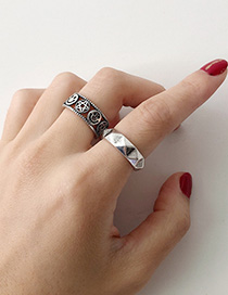 Fashion Silver Style Five Geometric Wave Star Open Ring