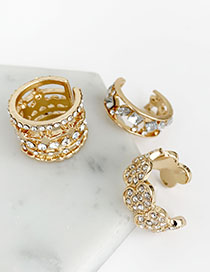 Fashion Gold Alloy Diamond Wide Open Ring