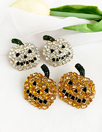 Fashion White Alloy Studded Pumpkin Stud Earrings