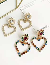 Fashion White Alloy Diamond Heart Earrings