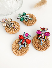 Fashion Red Alloy Diamond-studded Rattan Round Drop Earrings