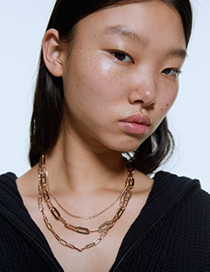 Fashion Golden Alloy Large Chain Necklace