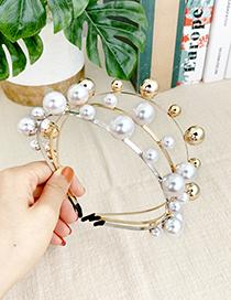 Fashion Gold + White Pearl Alloy-sized Pearl Headband