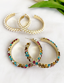 Fashion Pearl Alloy Diamond And Pearl Circle Earrings