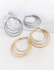 Fashion Golden Alloy Three Layer Circle Stud Earrings