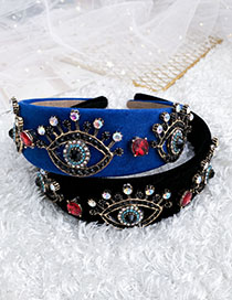 Fashion Blue Alloy Diamond Eye Flannel Headband