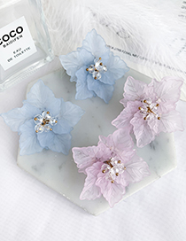 Fashion Purple Resin Leaf Shape Flower Stud Earrings