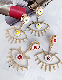 Fashion Red Alloy Hollow Eye Studs