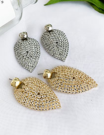 Fashion Silver Alloy Stud Earrings With Diamonds