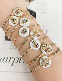 Fashion Golden Cubic Zirconia Shell Eye Bracelet