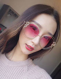 Fashion Pink Double Circular Ring Decorated Sunglasses