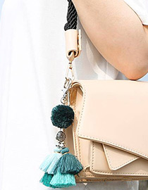 Fashion Green Tassel Decorated Pom Keychain