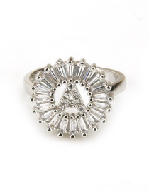 Fashion Silver Color Letter P Shape Decorated Ring