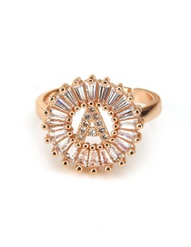Fashion Rose Gold Letter P Shape Decorated Ring