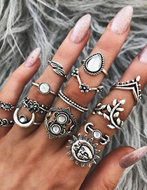 Fashion Silver Color Moon&leaf Shape Decorated Ring (14 Pcs )