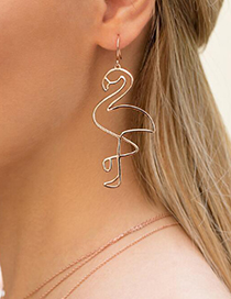 Fashion Rose Gold Flamingo Shape Decorated Earrings