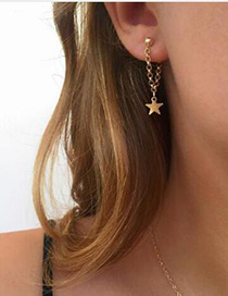 Vintage Gold Color Star Shape Design Pure Color Earrings