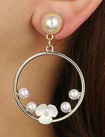 Fashion Gold Color Pearls&flowers Decorated Earrings
