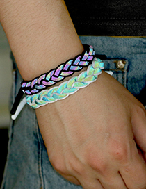 Fashion Love Holographic Glow Black Braided Color Hand Rope