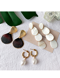 Fashion Green + Orange Alloy Shell Earrings