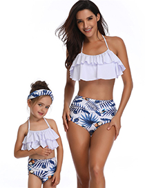 Fashion Adults Are Black And Green Printed High-waist Ruffled Parent-child Swimsuit