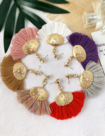 Fashion Leather Pink Alloy Studded Shell Tassel Earrings
