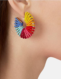 Fashion Red Alloy Rice Beads Round Earrings