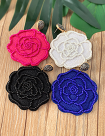 Fashion Black Felt Cloth: Rice Beads: Flower Earrings
