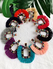 Fashion Purple Alloy-studded Square Tassel Earrings