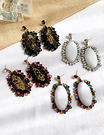 Fashion Red Alloy Studded Resin Oval Stud Earrings