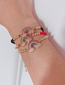 Fashion Red Copper Inlaid Zircon Rope Cloud Bracelet