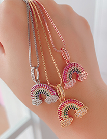 Fashion Rose Gold Copper Inlaid Zircon Rainbow Necklace