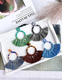 Fashion Blue Resin Round Tassel Earrings