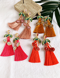 Fashion Red Alloy Studded Cherry Tassel Earrings