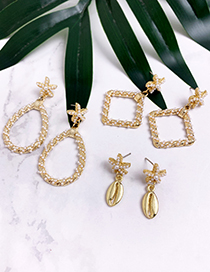 Fashion Gold Alloy Pearl Starfish Shell Earrings