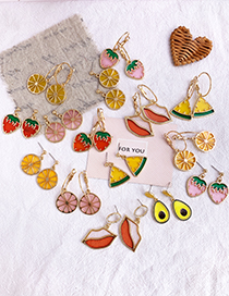 Fashion Pink Alloy Resin Fruit Lemon Earrings