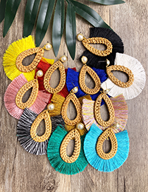 Fashion Yellow Rattan Woven Pearl Dripping Tassel Earrings