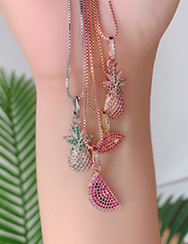 Fashion Silver Copper Inlaid Zircon Pineapple Necklace