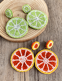 Orange Non-woven Rice Beads Lemon Earrings