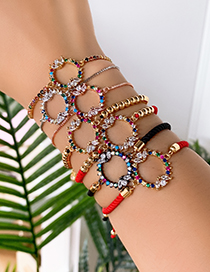 Fashion Red Copper Inlaid Zircon Beads Braided Rope Drop Round Bracelet