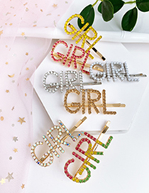 Fashion Ab Color Alloy Diamond Letter Girl Hairpin