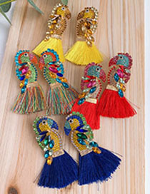 Fashion Blue Alloy-studded Woodpecker Tassel Earrings
