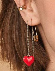 Fashion Red Alloy Resin Love Ear Line