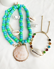 Fashion Blue Resin Beads Shell Pearl Necklace