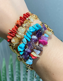 Fashion Color Copper Beaded Natural Stone Bracelet